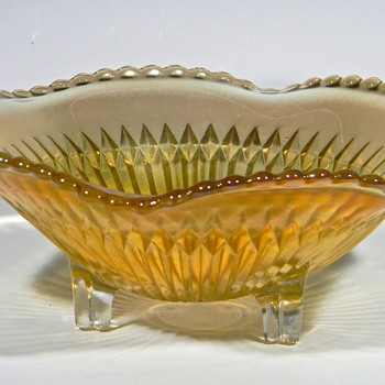 Carnival Glass Footed Dish - Glassware