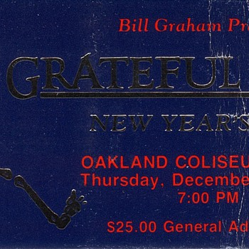 Grateful Dead Ticket Oakland Coliseum 1987 - Music Memorabilia