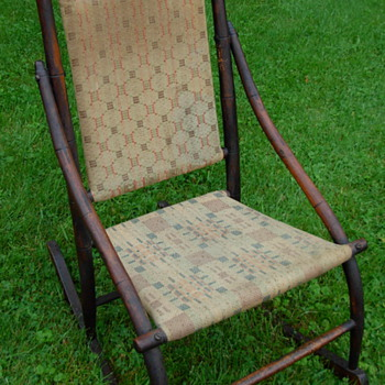Antique Wooden Upholstered Rocking Chair - Furniture