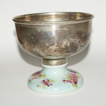 Silver Plated Pedestal Bowl with Ceramic Base - Kitchen