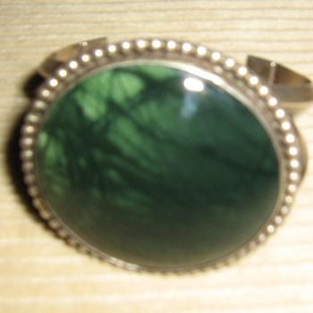 Unmarked sterling w/green stone bracelet - Fine Jewelry