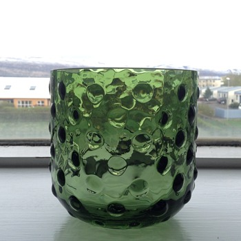 Green bubbleglass candleholder - Glassware