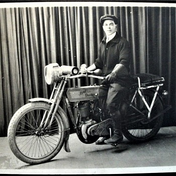 Large Antique 1913 (?) Harley Davidson Cabinet Photo - Motorcycles