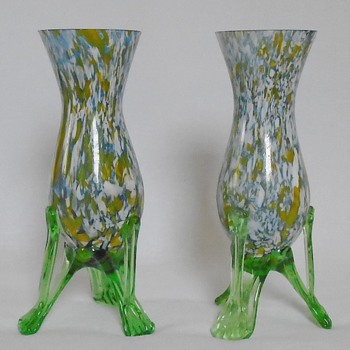 Welz Vases on Strutted Legs - Art Glass