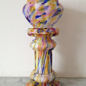 Welz spatter découpage jardiniere form column and bowl - Art Glass