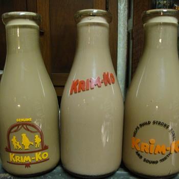3 Krim Ko Chocolate Milk Salesman Sample Milk Bottles....