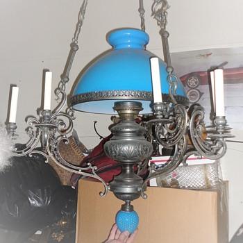 Gasolier opaline oil lamp - Lamps