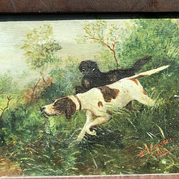 1906 oil painting of gun dogs. - Animals