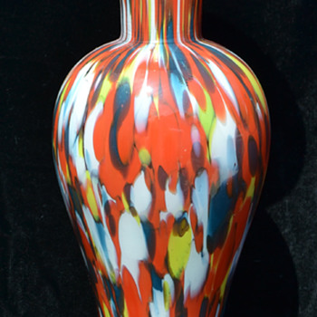 Czech spatter vase - whose mark is this? - Art Glass