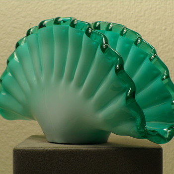Hand Blown Ruffled Aqua Napkin Holder - Art Glass