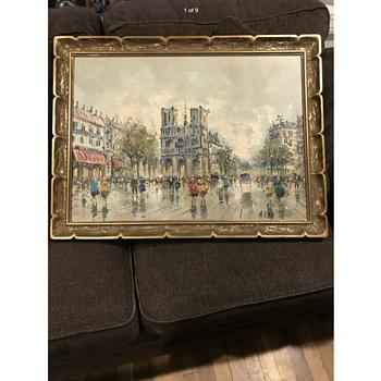 Vintage Oil Painting Notre Dame Signed (A.I.VITI) Andrea De VITI - Fine Art