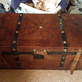 Old Tooled Leather Covered Trunk  - Furniture