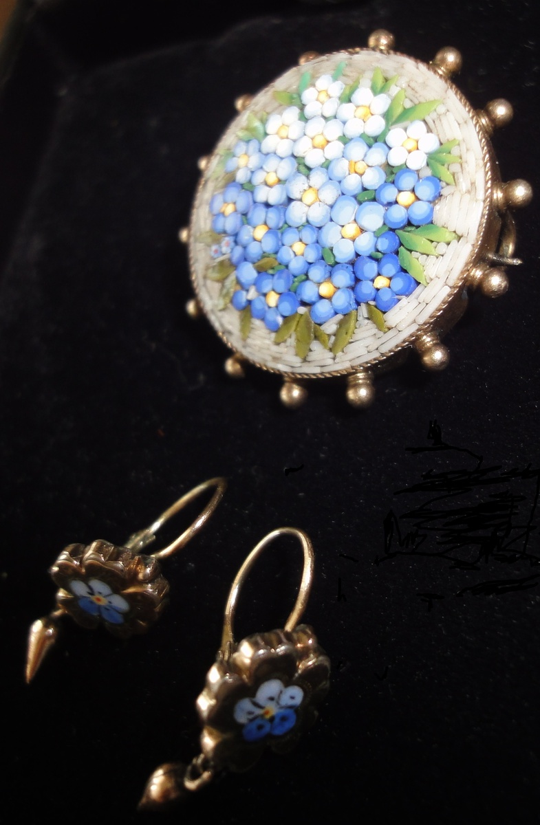 9fd2f1e50 ANTIQUE VICTORIAN FORGET ME NOT FLOWER TESSERAE MICRO MOSAIC BROOCH AND DANGLE  EARRINGS | Collectors Weekly