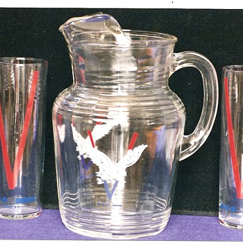 V for Victory Water Pitcher and Glasses - Military and Wartime