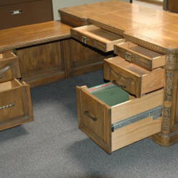 Romweber Viking Oak Secretary Desk w/ Right Hand Return