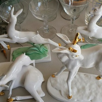 Vintage Italian White Reindeer Collection  - Figurines