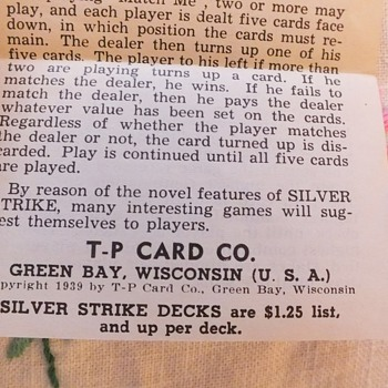 SILVER STRIKE cards 1939 Rules/Games