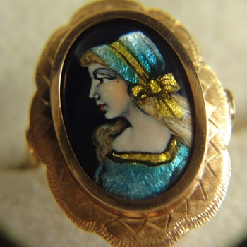 lIMOGES Enamel ring; Elegant girl on cobalt blue background.  - Fine Jewelry
