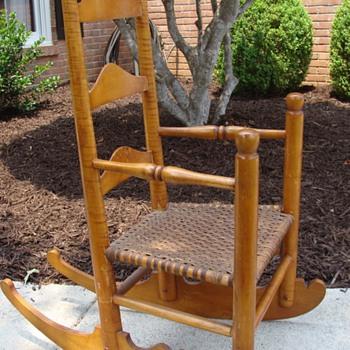 Child's Rocker or Ladies Rocker 3 Slat Ladderback Hickory Seat - Furniture