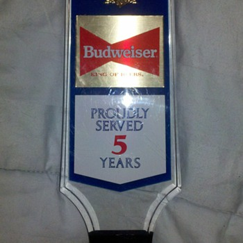BUDWEISER 5TH ANNIVERSARY TAP HANDLE