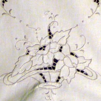 Set of 2 Vtg MADEIRA Linen Hand Embroidered Table Runners 16-inches by 49-inches, and 16-inches by 41-inches Long