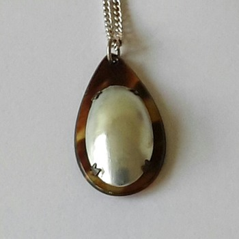 Faux Tortoiseshell and Pearl Shell Pendant - Costume Jewelry