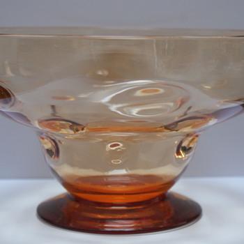 Webb Amber Bullseye Bowl - Art Glass
