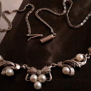 Antique cultured pearl and sterling silver necklace - Fine Jewelry