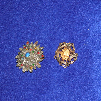Very old Antique Pieces- Woman with gold flower in hair pin, silver multi-colored rhinestone flower starburst  - Costume Jewelry