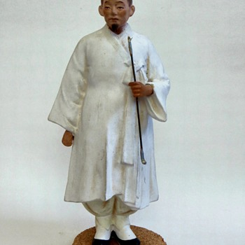 Japanese or Chinese figure, carved, cast. hand painted scholar/noble~Beautiful