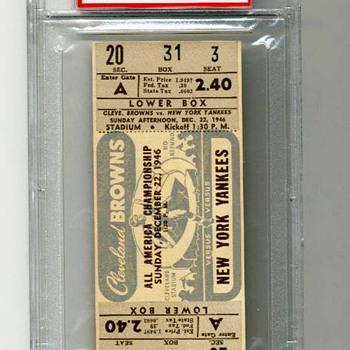 1946 AAFC NFL Championship Game Ticket PSA 10 Superbowl Cleveland Browns