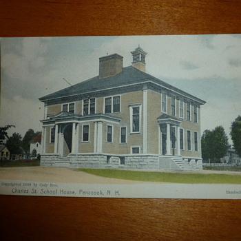 "1906 NH Handcolored Postcard w/ Strange ""Light"""