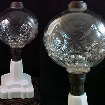 Antique Whale Oil Fluid Lamp ca. 1870 by Hobbs Brockunier Flint Glass with Blackberry Pattern Base - Lamps