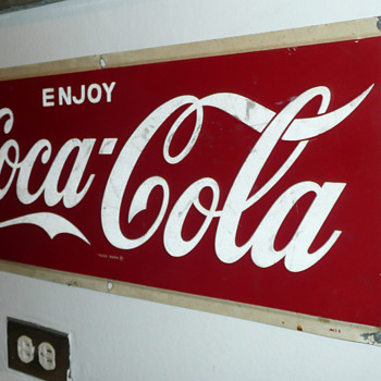 Enjoy Coca Cola Steel Sign 1950's - Coca-Cola