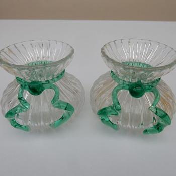 Posy Vases With Uranium Glass Bows/Ribbons - Glassware