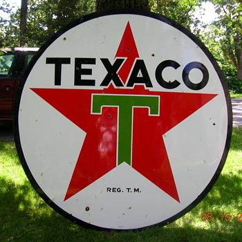 1955 72 inch texaco sign double sided - Petroliana