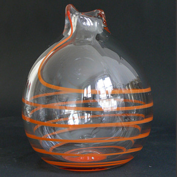 czech orange concentric threaded vase with pontil mark - Art Glass