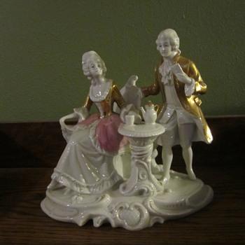 China figurines at tea - China and Dinnerware