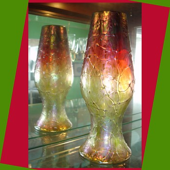 Rindskopf Pepita Threaded Vase... or is it by Kralik? - Art Glass