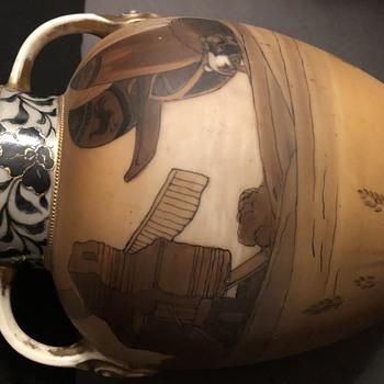"Nippon 2 Handled Scenic Vase Handpainted 8 1/2"" tall  - Asian"