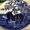 Magnificent Very Large Antique Japanese  Blue And White Hand Painted Charger Plate.