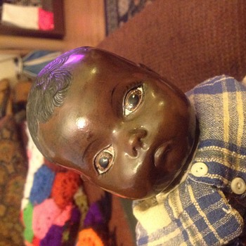Black porcelain doll with initials GP on neck - Dolls