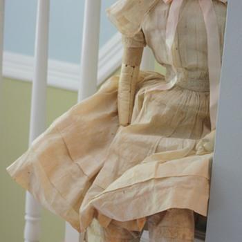 English, Wax Over Papier-Mâché, Split Head Doll, Circa 1830 - Dolls