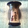 Little Japanese Satsuma Flare Vase / Cobalt Blue with Figures and Gilding / Unknown Age