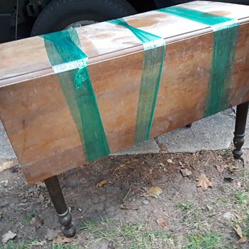 antique walnut drop-leaf table - Furniture