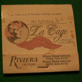 Vintage Riviera Casino (An Evening At La Cage) Matchbook ~ Las Vegas, Nevada - Tobacciana