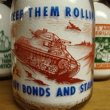 SANITARY DAIRY...WARREN OHIO...CREAMTOP WAR SLOGAN....TANK PICTURE - Bottles