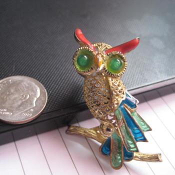 EB Germany sterling Owl brooch - Fine Jewelry