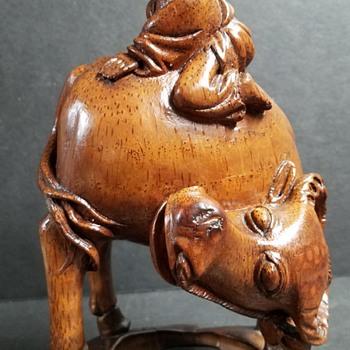 Asian Wood Carving - Man & Water Buffalo - Asian