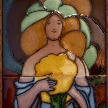 1900s British Art Nouveau Beardsley-type Maiden Framed Tile Set - Art Nouveau